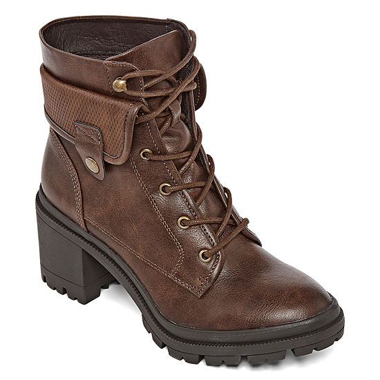 Pop Womens Yetta Lace Up Boots Block Heel