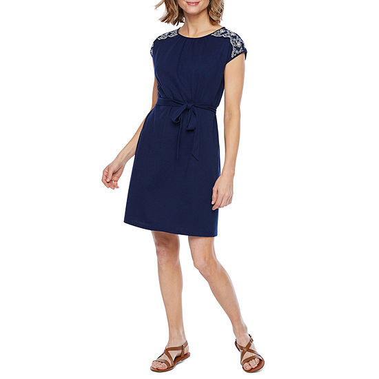 St. John's Bay Short Sleeve Fit & Flare Dress