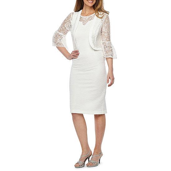 Maya Brooke 3 4 Bell Sleeve Lace Jacket Dress