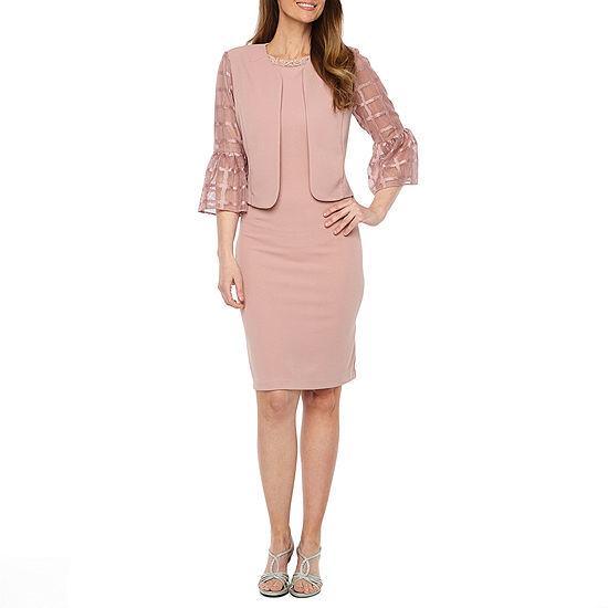 Maya Brooke 3/4 Bell Sleeve Embellished Jacket Dress