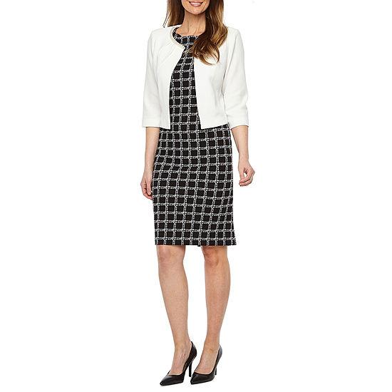 Maya Brooke 3/4 Sleeve Embellished Neckline Jacket Dress