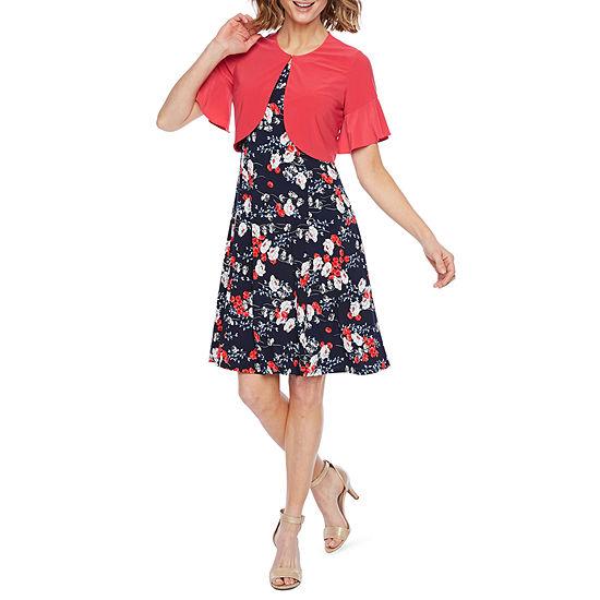Perceptions Short Bell Sleeve Floral Puff Print Jacket Dress-Petite