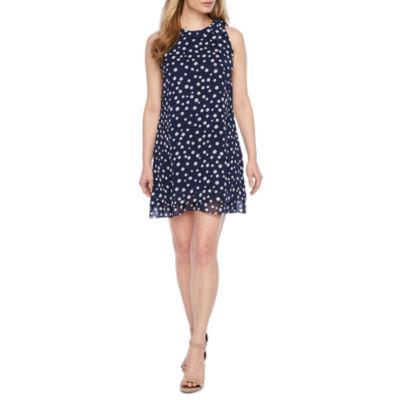 R & K Originals Sleeveless Dots Shift Dress-Petite