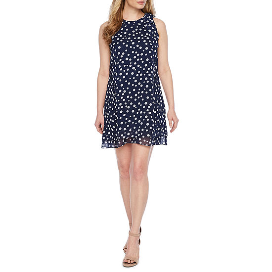 R & K Originals-Petite Sleeveless Dots Shift Dress