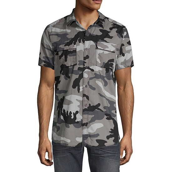i jeans by Buffalo Mens Short Sleeve Camouflage Button-Down Shirt