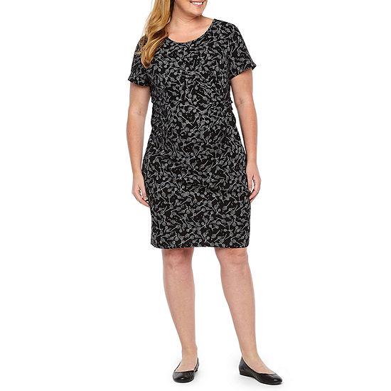 Belle & Sky Maternity Short Sleeve Twist Front Dress - Plus