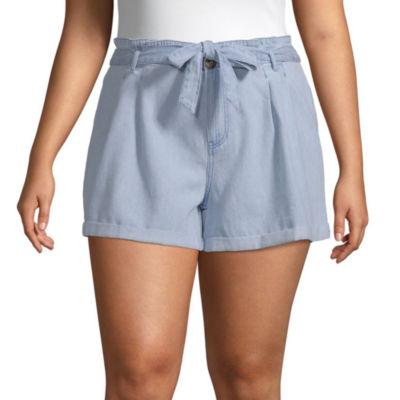 Arizona Womens Low Rise Soft Short-Juniors Plus