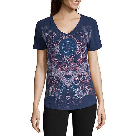 St. John's Bay Active Womens V Neck Short Sleeve Graphic T-Shirt