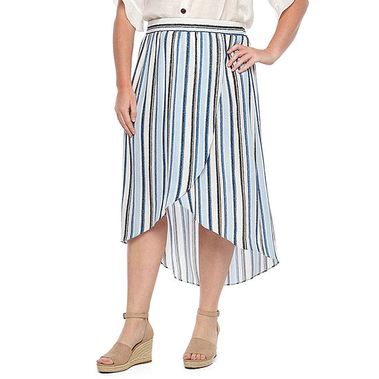 Alyx Womens Mid Rise Tulip Front Skirt – Plus