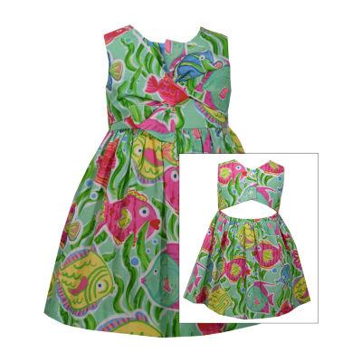 Bonnie Jean Sleeveless Floral A-Line Dress Girls