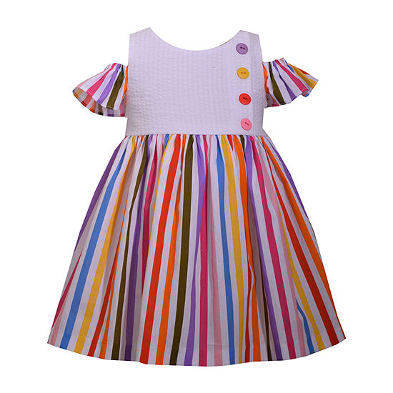Bonnie Jean Girls Short Sleeve Striped A-Line Dress - Baby