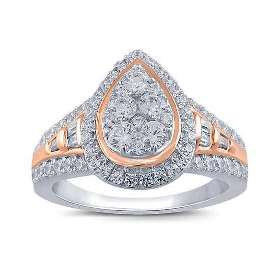 Womens 3/4 CT. T.W. Genuine White Diamond 14K Two Tone Gold Engagement Ring