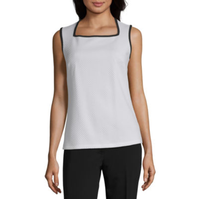 Liz Claiborne Womens Square Neck Sleeveless Blouse