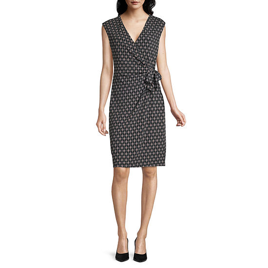 Liz Claiborne Short Sleeve Geometric Sheath Dress