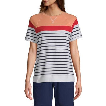 St. John's Bay-Womens Round Neck Short Sleeve T-Shirt, Medium , Orange