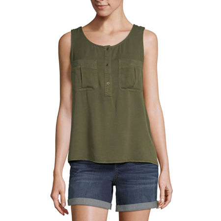 a.n.a Womens Round Neck Sleeveless Tank Top, Small , Green