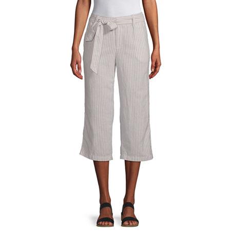 Liz Claiborne Belted Cropped Pants, X-large , Beige