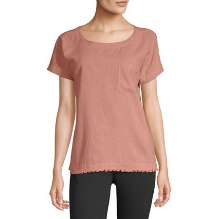 Liz Claiborne Womens Round Neck Short Sleeve T-Shirt, X-small , Pink