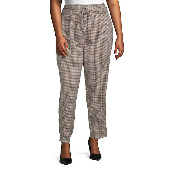 Worthington Womens Paperbag Waist Pant - Plus