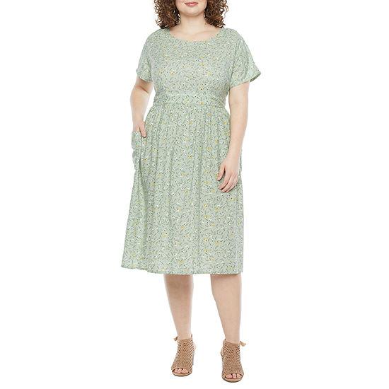 a.n.a Short Sleeve A-Line Dress-Plus