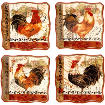 Certified International Tuscan Rooster Set of 4 Dessert Plates