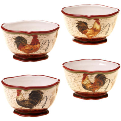 Certified International Tuscan Rooster Set of 4 Ice Cream Bowls