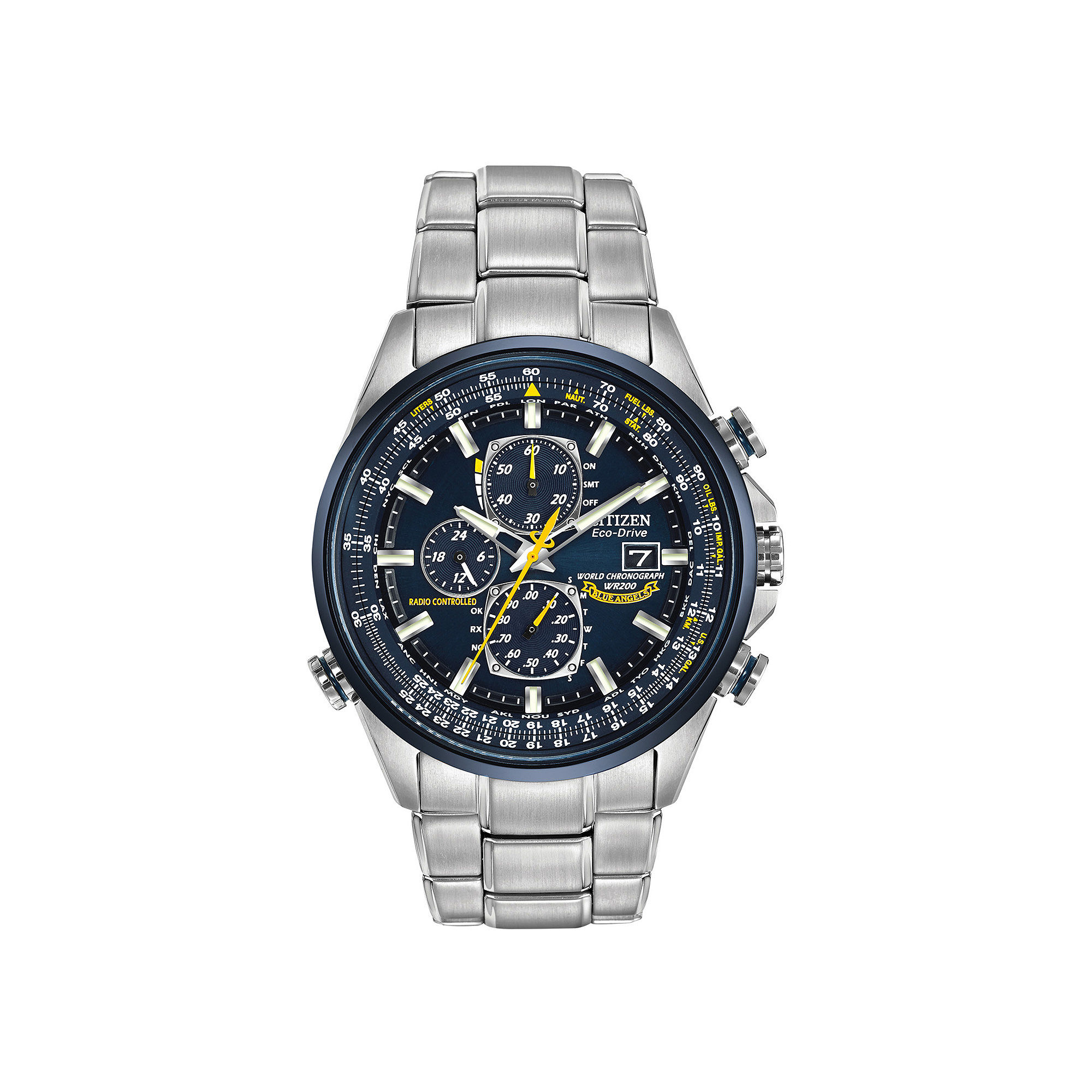 Citizen Eco-Drive Mens Blue Angels World Chronograph A-T Watch AT8020-54L
