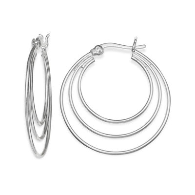 Silver-Plated Polished Triple-Hoop Earrings