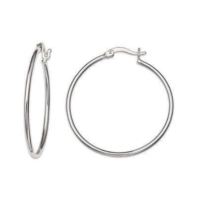 Silver-Plated Polished Hoop Earrings