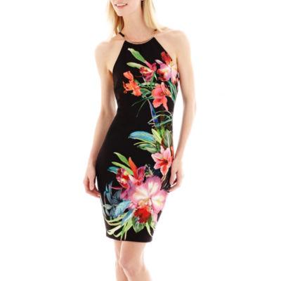 Bisou Bisou® Sleeveless Floral Print Hardware Halter Sheath Dress