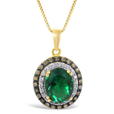 Lab-Created Emerald and Diamond Oval Pendant Necklace