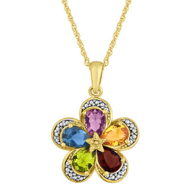 Simulated Multi-Gemstone Flower Two-Tone Pendant Necklace