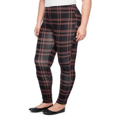 Mixit Knit Plaid Print Leggings- Plus