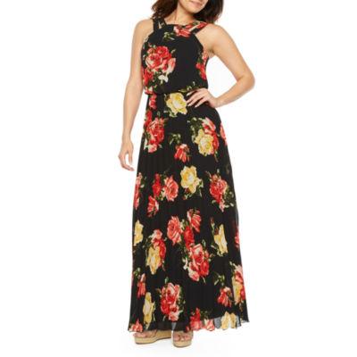Premier Amour Sleeveless Pattern Maxi Dress