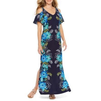 MSK Short Sleeve Cold Shoulder Floral Maxi Dress