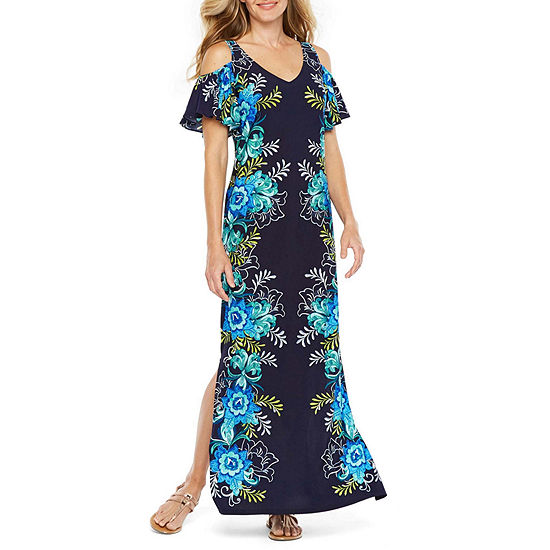 MSK Short Sleeve Cold Shoulder Floral Maxi Dress