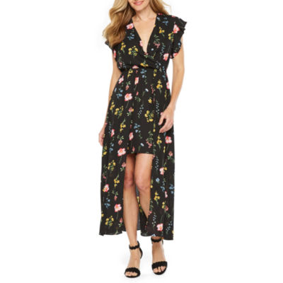 Emma And Michele Short Sleeve Floral Maxi Dress