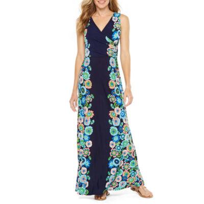 London Style Sleeveless Floral Maxi Dress