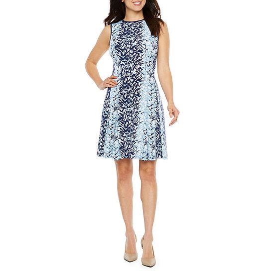 Danny & Nicole Sleeveless Leaf Fit & Flare Dress