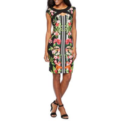 Melrose Sleeveless Stripe Floral Sheath Dress