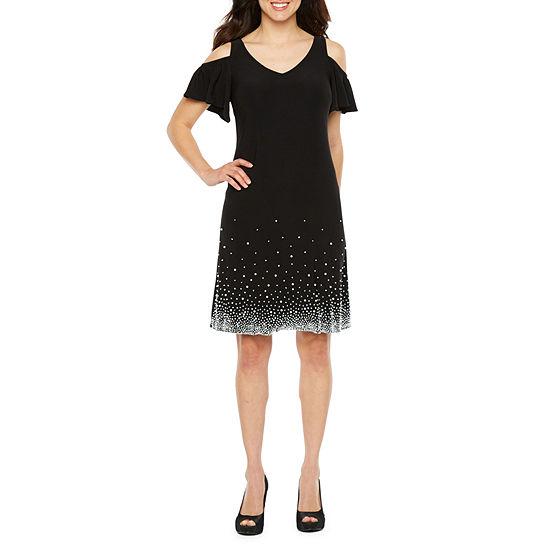MSK Short Sleeve Beaded Sheath Dress
