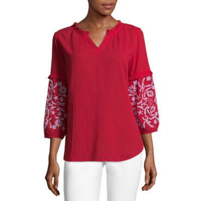Liz Claiborne 3/4 Sleeve Ruffle Popover - Tall
