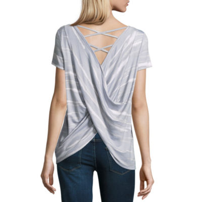 A.N.A Short Sleeve Back Detail Top - Tall