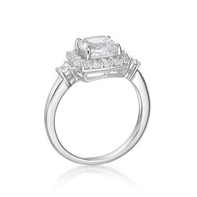 Womens White Sapphire Sterling Silver Cocktail Ring