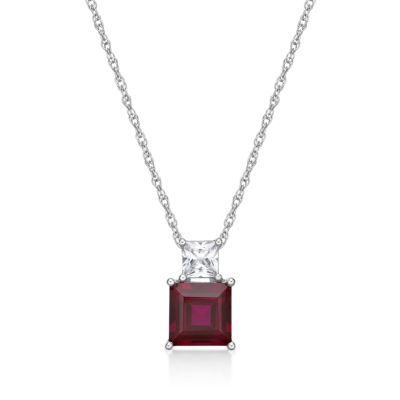 Womens Lab Created Red Ruby Sterling Silver Square Pendant Necklace