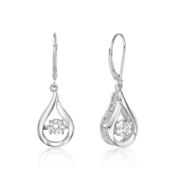 White Sapphire Sterling Silver Drop Earrings