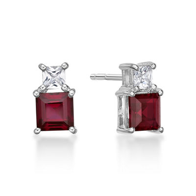 Lab Created Red Ruby Sterling Silver 10mm Square Stud Earrings