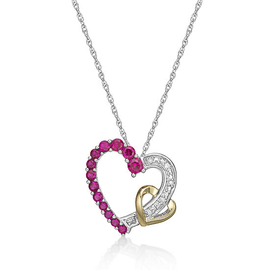 Womens Lab Created Red Ruby 10K Gold Over Silver Heart Pendant Necklace