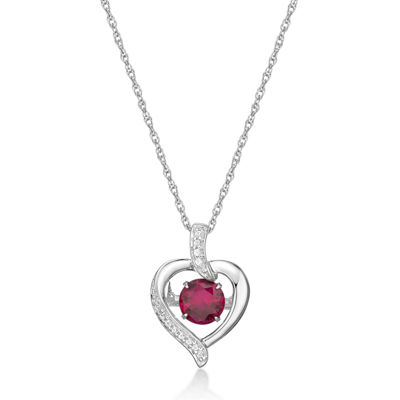 Womens Red Ruby Sterling Silver Pendant Necklace