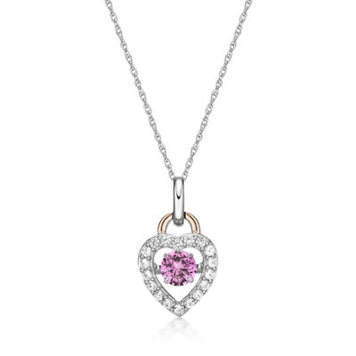 Womens Lab Created Pink Sapphire 10K Rose Gold Over Silver Heart Pendant Necklace